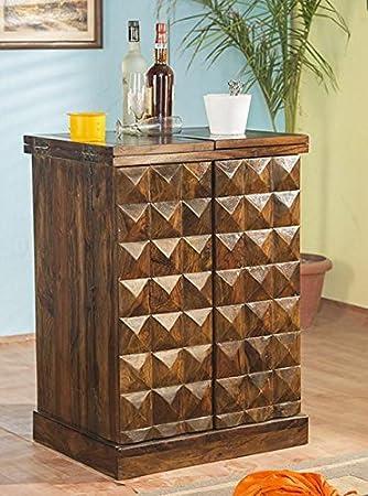 Decoration Shop Diamond Bar Cabinet In Natural Brown Finish