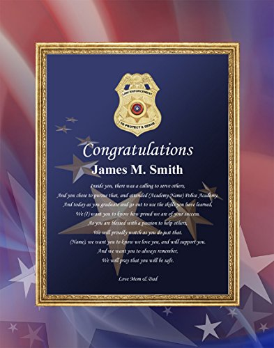 Law Enforcement Graduation Gift Print Matted Sheriff Police Academy Graduation Poems Policeman Personalized 11x14 Unframed Matted (Police Academy Poster)