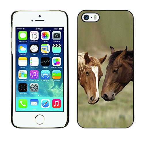 Omega Case PC Polycarbonate Cas Coque Drapeau - Apple iPhone 5 / 5S ( Horse Friends )