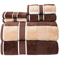 Lavish Home 67-0023-T 100 Percent Cotton Oakville Velour Towel Set (6 Piece), Chocolate