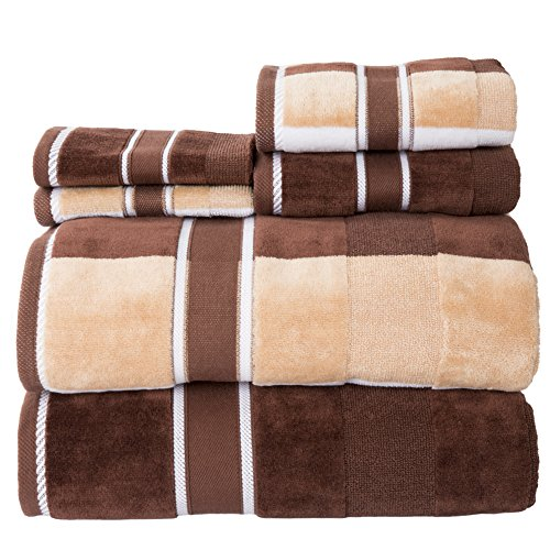 - Lavish Home 100% Cotton Oakville Velour 6 Piece Towel Set-Chocolate