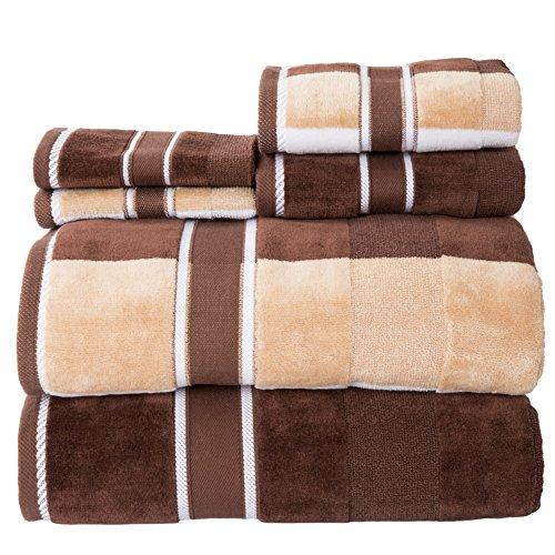 Lavish Home 100% Cotton Oakville Velour 6 Piece Towel - Brown Shadow Stripe
