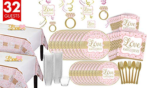 Party City Sparkling Pink Wedding Bridal Shower Tableware Kit for 32 Guests, Includes Table Covers and Decorations -