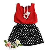 LOVELYIVA New Girls Vest Pleated Dress Two Pieces Set Clothes Children Skirt Suit