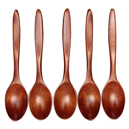ISKYBOB Set of 5 Handmade Natural Wood Soup Spoons Long Handle for Kids Tableware