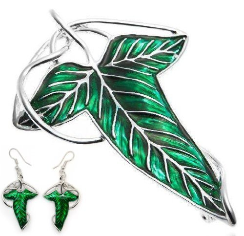Cyqun(TM) The Elven's Green Leaf Necklace Earrings Set,The Lord Of The Rings Jewelry Set