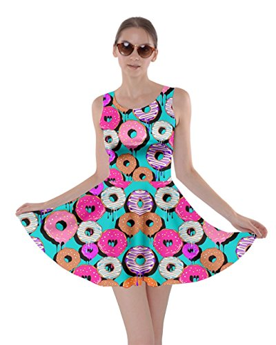 CowCow Womens Mint Donut Skater Dress, Mint Donut - M (Candy Costume Adult)