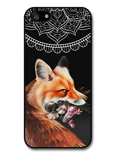 Cute Cool Fox With Flowers and Mandala Pattern on Black Hipster Grunge case for iPhone 5 5S