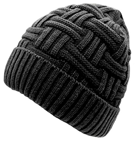 Loritta Mens Winter Warm Knitting Hats Wool Baggy Slouchy Beanie Hat Skull Cap (Knitting Ski Hat)