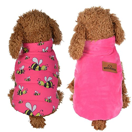 Minisoya Bee Pattern Winter Warm Jacket Double-Sided Vest Coat Dog Costumes Pet Clothes (Pink, S)