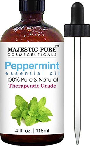 Liquid Massage Oil Peppermint - Majestic Pure Peppermint Essential Oil, Pure and Natural, Therapeutic Grade Peppermint Oil, 4 fl. oz.