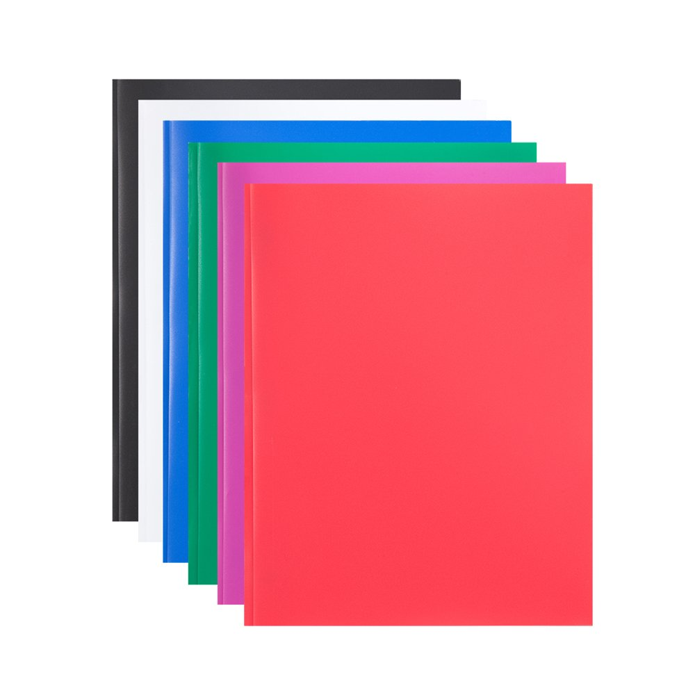COMIX 2 Pocket Letter Size Poly File Portfolio Folder with Three-Prong Fastners - Assorted Colors - 6 Pieces (A2139)