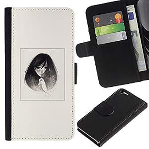 LECELL--Cuero de la tarjeta la carpeta del tirón Smartphone Slots Protección Holder For Apple Iphone 6 -- Emo B & W retrato de la muchacha --