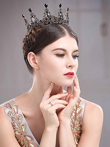 Chicer Baroque Wedding Crown Tiara Queen Princess Vintage Rhinestone Tiara Accessories For Women and Girls(Black). by Chicer (Image #4)