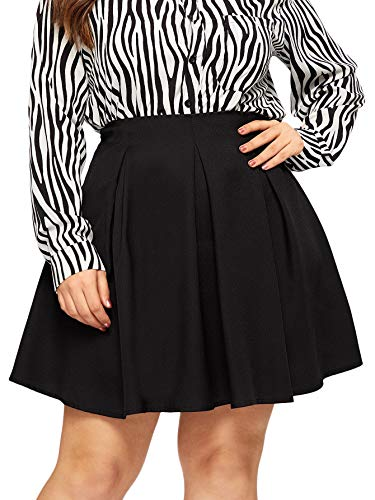 SheIn Women's Plus Size Basic Plain Grid Flared Skater Mini Short Skirt (1X-Large, Black) (Plus Size Skater Skirt)