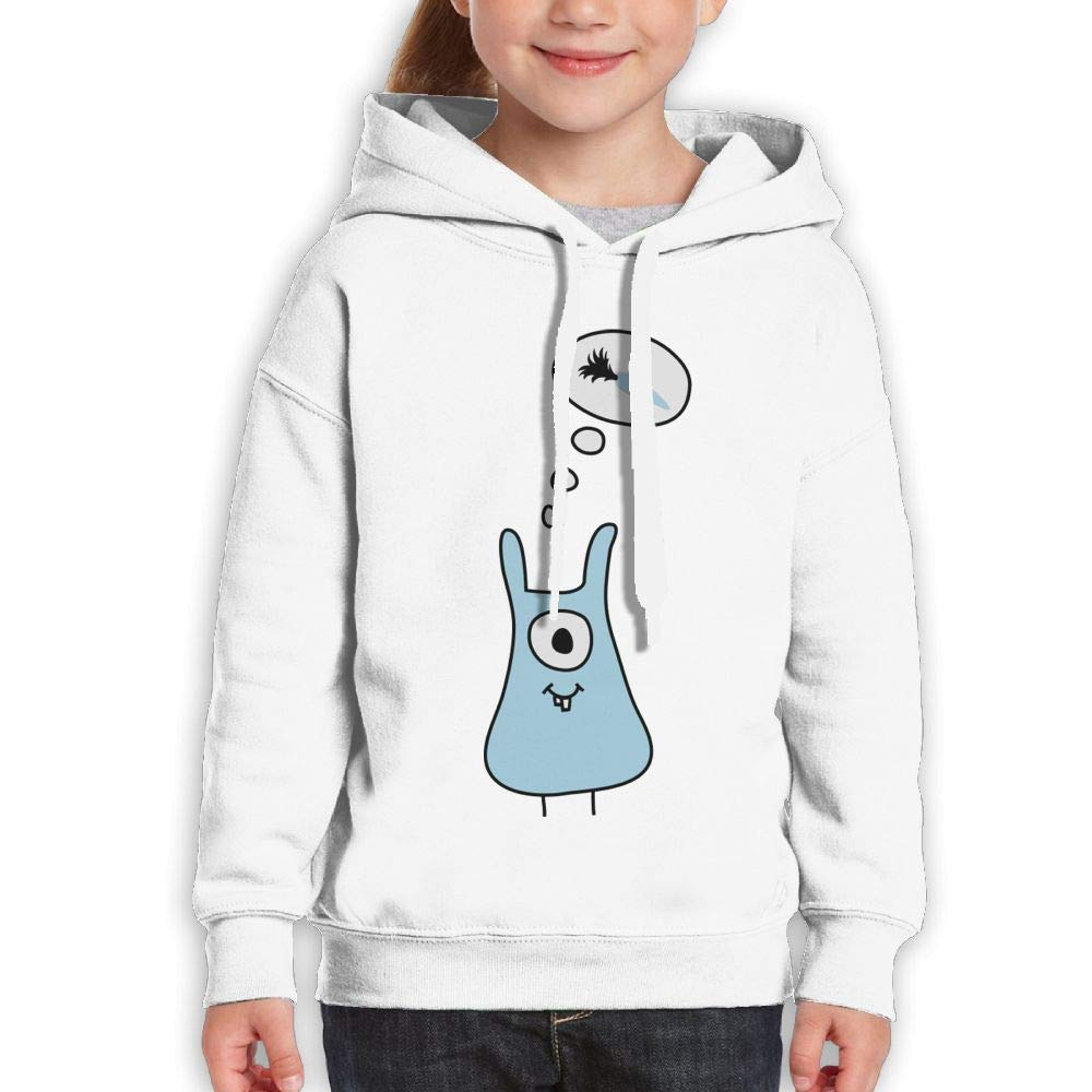 One Eyed Blue Rabbit Misses Carrot Kids Hooded Long Sleeve Sweatshirts Girls