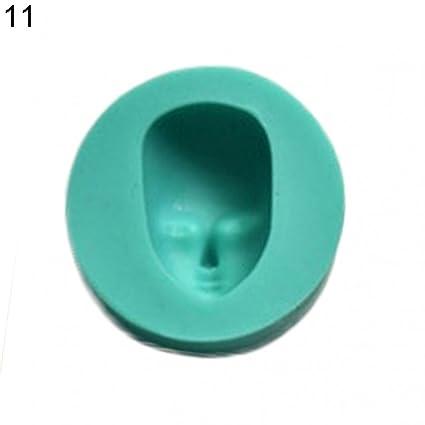 Molde de silicona para repostería, diseño de cara de muñeca, para fondant, chocolate