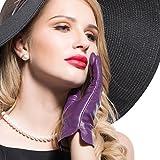 Kursheuel 14 colors Cashmere Women Lady's Genuine lambskin soft leather driving Gloves KU141 (L, Purple)