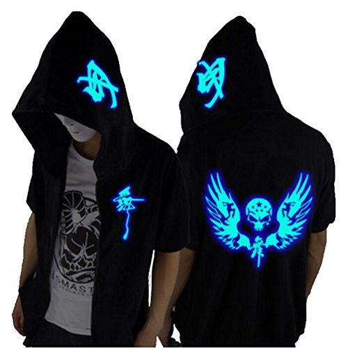 Unisex-Adult/Teens Galaxy Unique Design Short Sleeves Hoodie Luminescent Hoody Glow Lights at Night (Blue Wings&Skull, XL fits Height 68-70