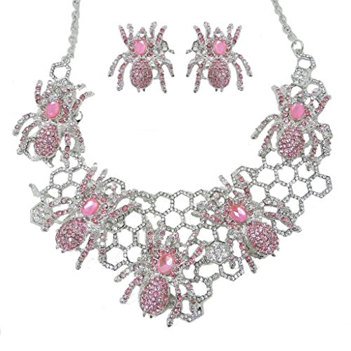 EVER FAITH Halloween Spider Web Pink Austrian Crystal Necklace Earrings Set (Spiderweb Rhinestone Necklace)