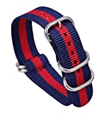 18mm Blue/Red Deluxe Premium One-piece Nato Style Sturdy Nylon Watch Straps Bands Replacements for Men