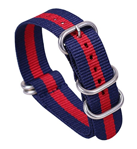 Gucci Watch Strap - 18mm Blue/Red Deluxe Premium One-piece Nato Style Sturdy Nylon Watch Straps Bands Replacements for Men