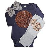 FanGarb Rhinestone Baby Girls Basketball Navy Outfit, Grey Crystal Leg Warmers & Grey Bow