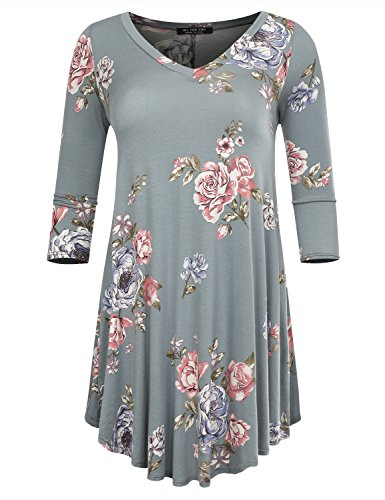 ALL FOR YOU Women's 3/4 Sleeve V-Neck Flare Hem Patterned Tunic Sage 2033 Small