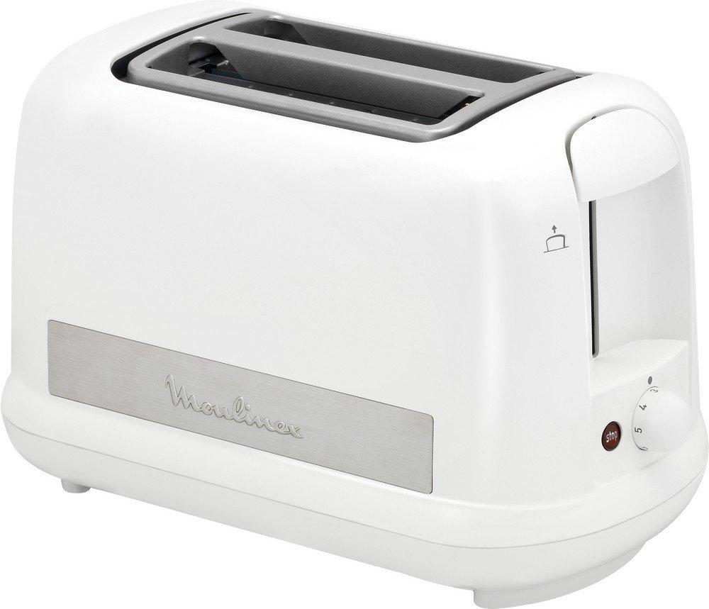 Moulinex LT162111 Grille-Pain Toaster Principio + Plus 2 Fentes Décongélation Thermostat Réglable 850W Centrage Automatique Pain Inox et Blanc product image