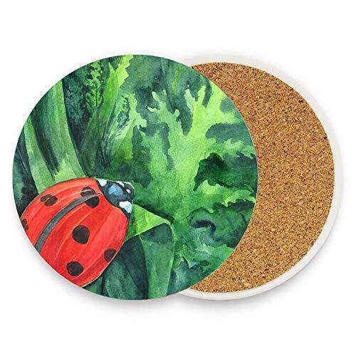 CuteToiletLidABC Red ladybird Coaster for Drinks,Wallpaper Ceramic Round Cork Table Cup Mat Coaster Pack Of 1 (Ceramic Bird Brain)