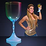 Light Up Wine Glass with Long Spiral Stem (Set of 4)