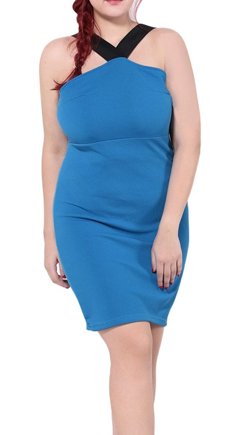 Bigood Plus Size Schulterfrei Elegant Damen Cocktailkleid Minikleid Party Kleid Blau