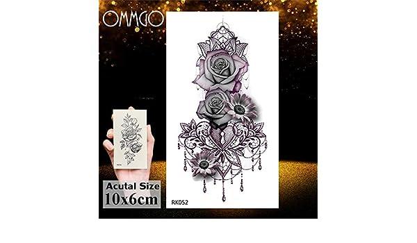 5Pcs- Acuarela Medusa Tatuaje Etiqueta engomada del tatuaje Flor ...