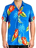 Men's Regular Fit Camp Palm tree Short Sleeves Button Down Hawaiian Shirts aloha