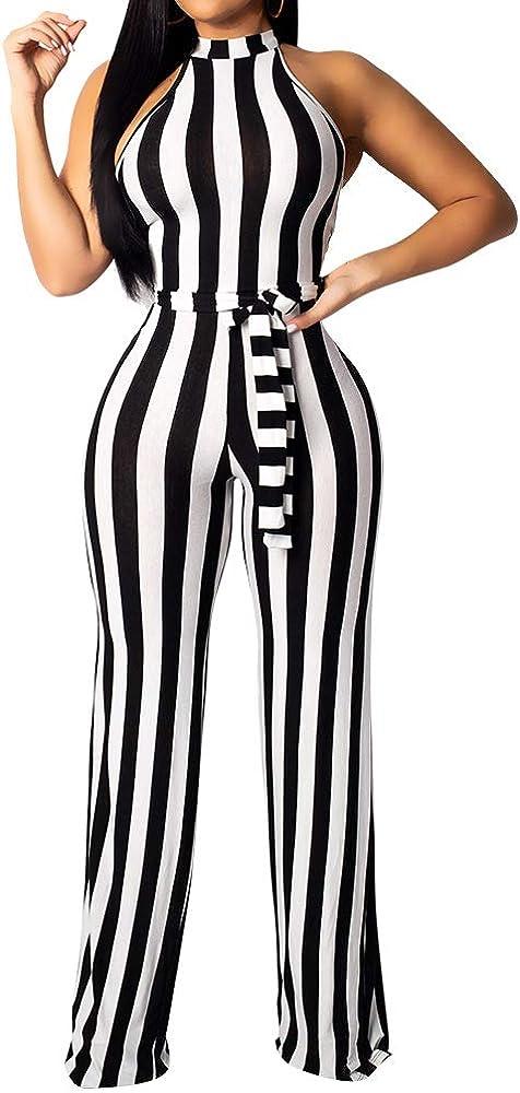 BEAGIMEG Womens Striped Halter High Waist Wide Leg Jumpsuit with Belt