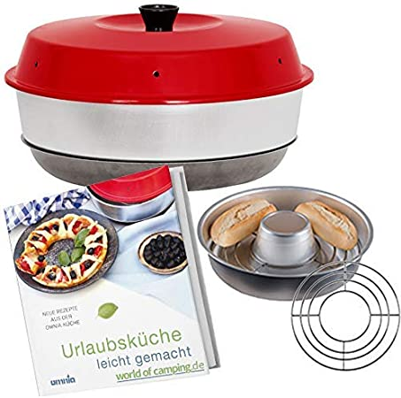 WoC Omnia Spar Set Midi - Horno de Camping + Rejilla Omnia + Libro de Cocina con 50 Recetas para Viajes, caravanas y Camping
