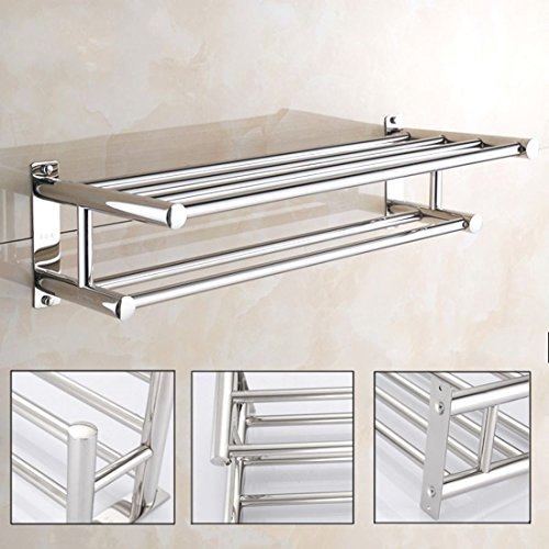24 Bar Country Inch Towel - Towel Rack Wall Mount Bathroom Stainless Steel Double Shelf Bar Rail Hotel Style