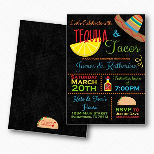 Tequila & Tacos Fiesta Couples Wedding Shower Invitations   Envelopes Included ()