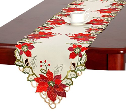 "Christmas Holiday Embroidered Poinsettia Table Runner 15"" X 70"" (Runner Poinsettia Table)"