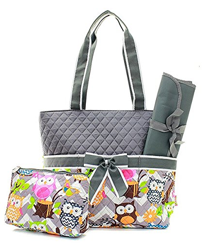 quilted owl diaper bag - 6