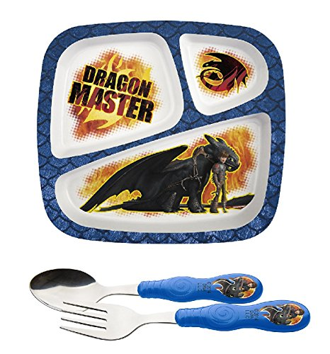 (Zak! Designs How to Train Your Dragon 3-Section BPA-Free Plastic Plate & Stainless Steel Fork and Spoon Set)