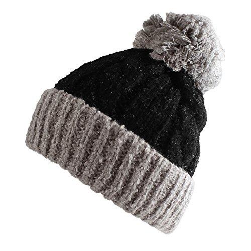 Morehats Large Pom Pom Soft Crochet Thick Knit Slouchy Beanie Beret Winter Ski Hat - Black/Grey