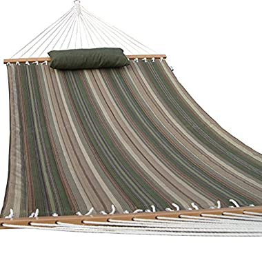 Prime Garden Quilted Fabric Hammock with Pillow, Hardwood Spreader Bars, 2 People, Desert Stripe