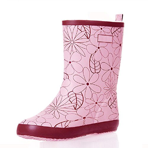 Women Rain Boots Elegant Mosaic Tube Female Rubber Rain Boots Floral Mid-Calf Slip On Comfortable Soft Water Shoes Pink
