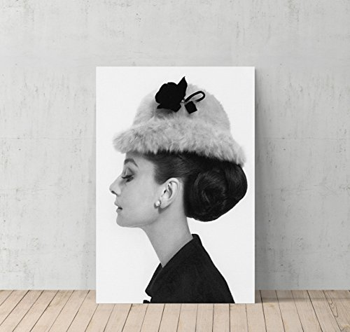 Audrey Hepburn Side Profile with Modern Hat Canvas Print Decorative Art Modern Wall Décor Artwork Wrapped Wood Stretcher Bars - Ready to Hang - %100 Handmade in the USA (7 Year Anniversary Gift Modern)