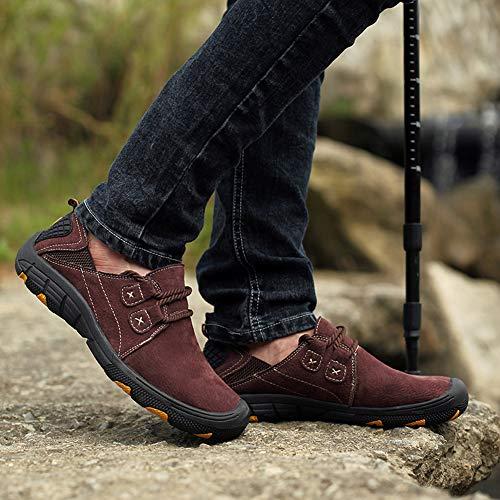 Informales Calzados Moda De Oxford Aire Transpirable Mocasines Para Cuero Rojo Libre Calzado Al Hombres Senderismo Conducir Caminar 4xXOIOq