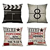 Pack of 4 MUILEE Movie Theater Cinema Personalized Throw Pillow Cover Decorative Cushion Case Shell Outdoor Pillow Case for Car Sofa Bed Couch 18 x 18 Inch