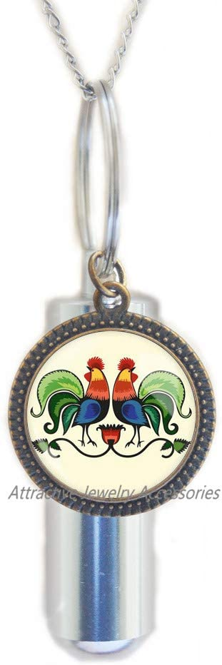 Wklo0avmg Roosters Gift for Woman Gift Necklace Polish Folk Art Poland Necklace with Floral Design Gift for Mother,QK0O131