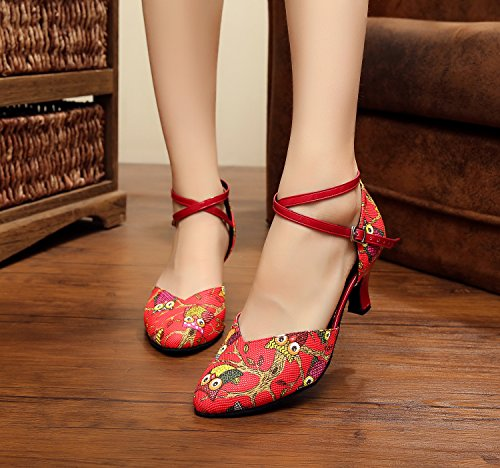 Minishion Qj6235 Vrouwen Comfort Enkelband Pleather Latin Salsa Ballroom Dansschoenen Rood