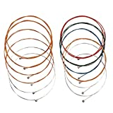 2 Sets of 6 Acoustic Guitar Strings Strings,(Yellow/Multicolor)
